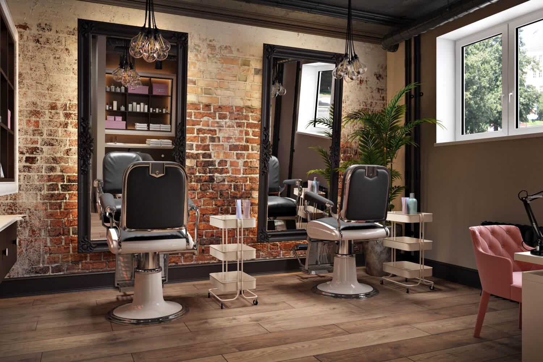 Дизайн помещения салона красоты с элементами стиля лофт и классики Вид07