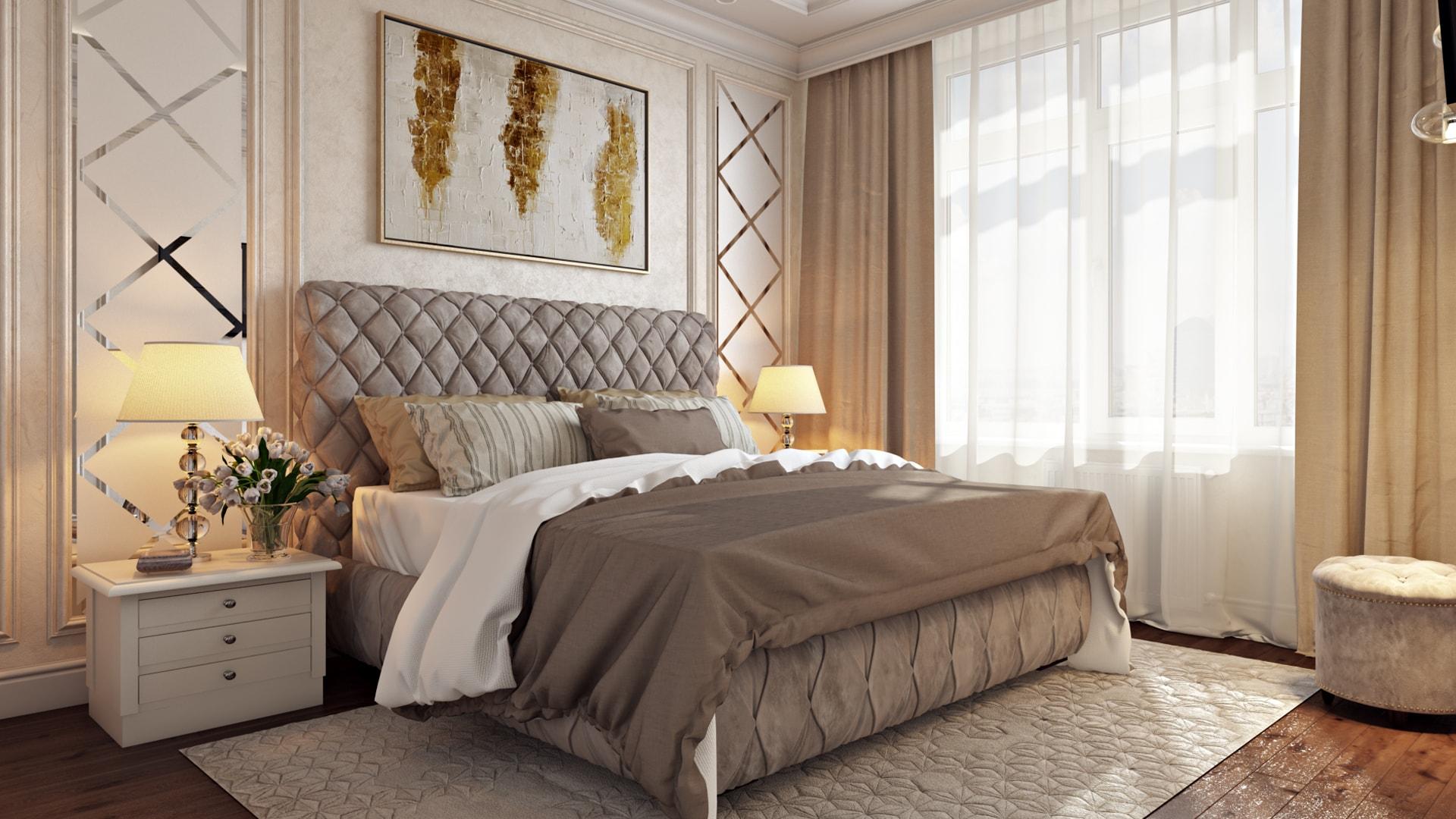Кровать с высоким изголовьем в спальне: дизайн-проект интерьера квартиры