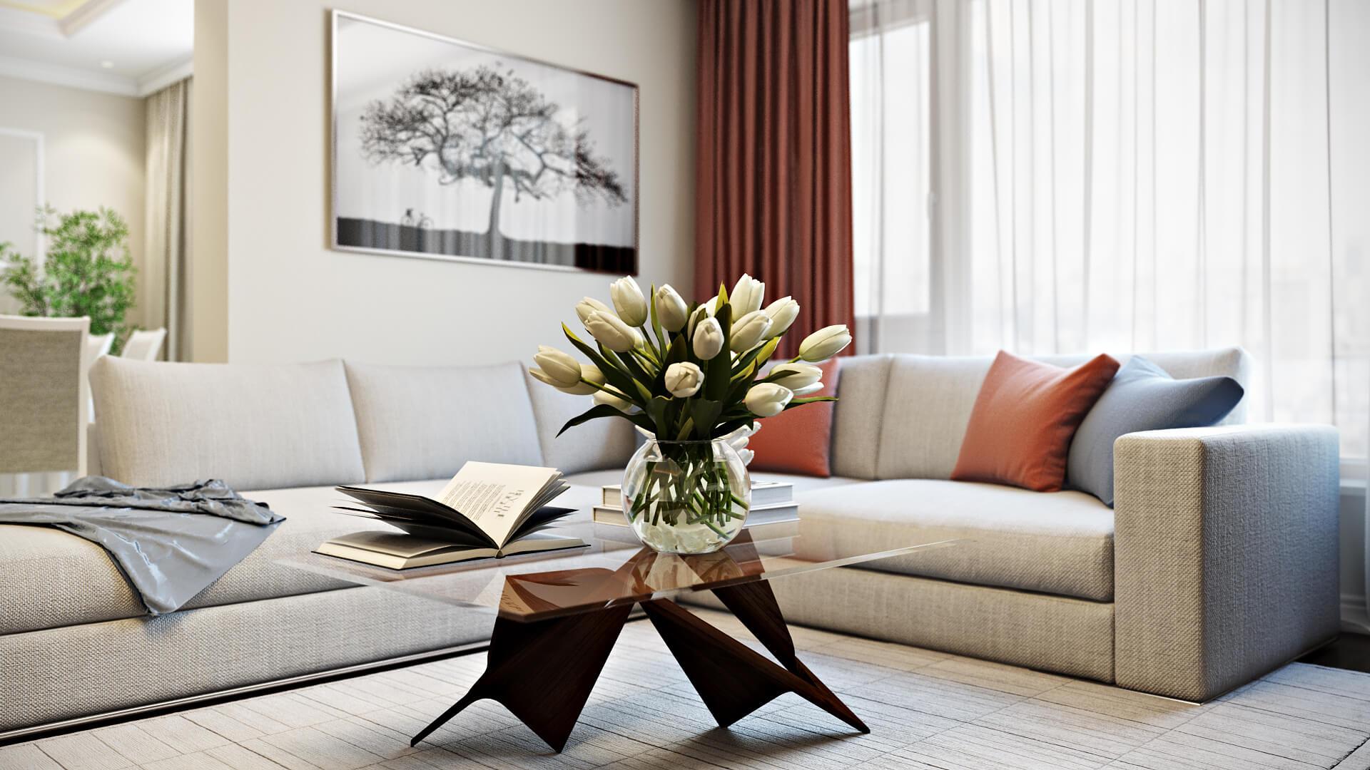 Удивительный дизайн просторной квартиры в белом Вид 22