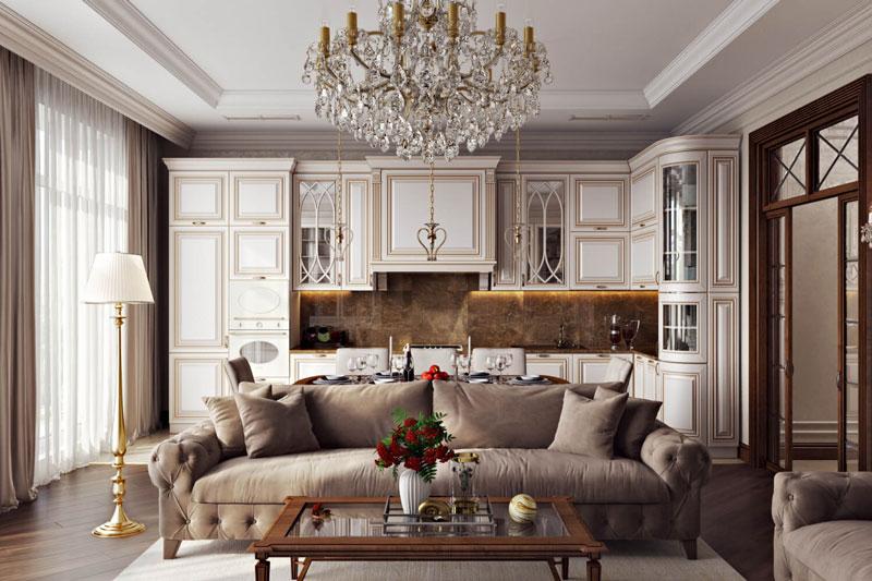 Дизайн интерьера стильной кухни-гостиной