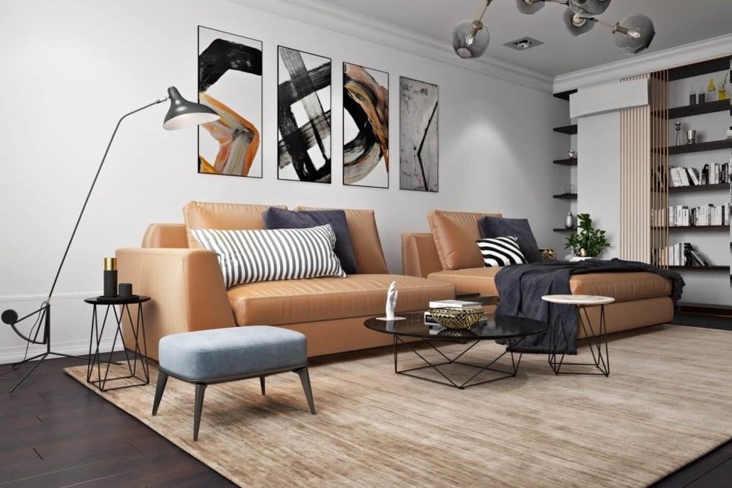 Акцентные принты в дизайне гостиной в скандинавском стиле