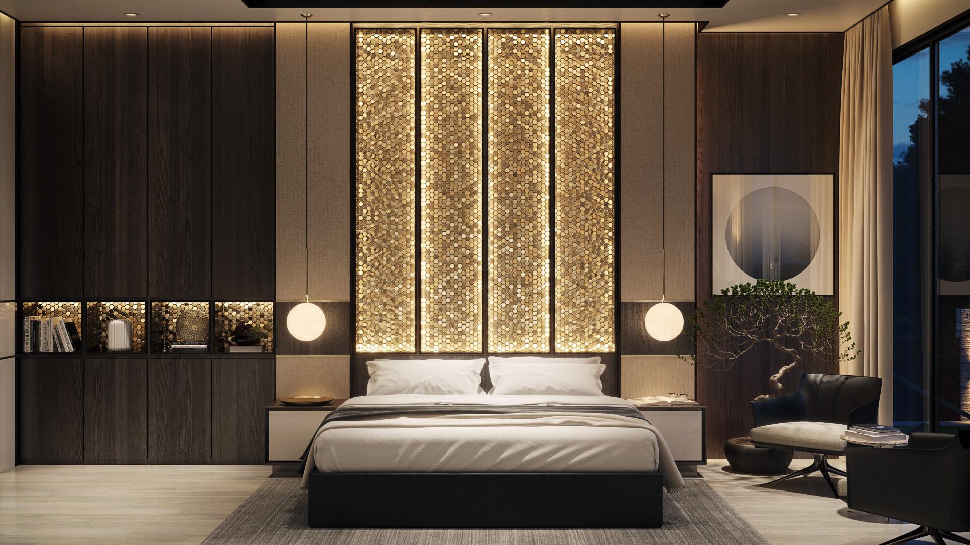 Дизайн интерьера спальни с акцентной стеной