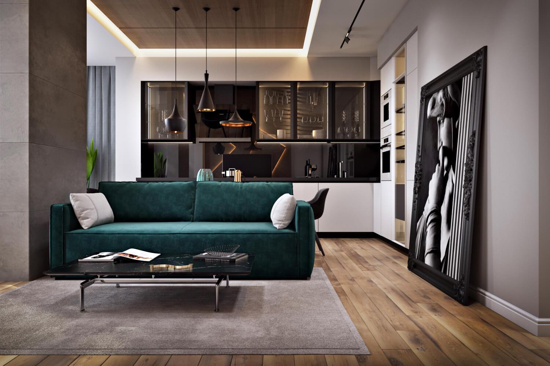 Современный дизайн гостиной в проекте трехкомнатной квартиры Вид01
