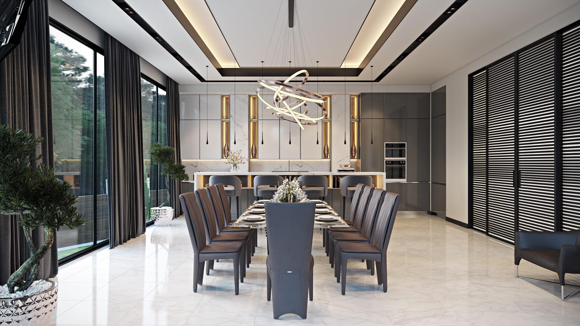 Яркий и практичный дизайн загородного дома. Кухня Вид17