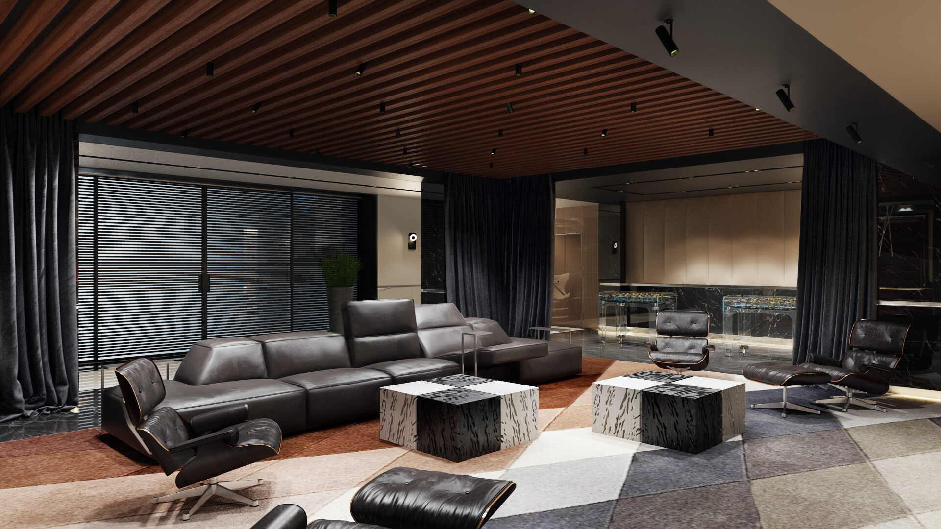 Роскошный дизайн зоны отдыха с домашним кинотеатром и винной комнатой Вид08