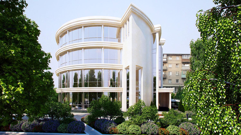 Яркий и эффектный дизайн экстерьера - великолепный фасад. Вид01