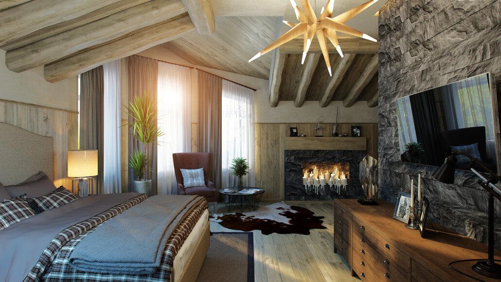 Яркий эклектичный дизайн интерьера спальни. Вид3