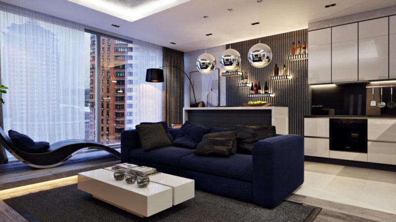 Стильный дизайн интерьера гостиной комнаты: панорамное окно с роскошным видом
