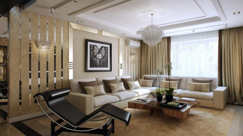 Стильный интерьер гостиной комнаты с современной мебелью