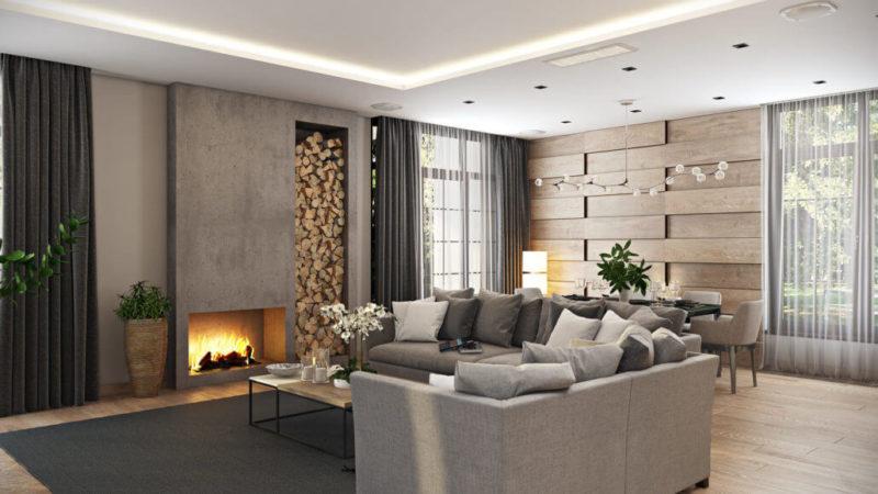 Стильный интерьер гостиной комнаты с эффектным камином и вазоном