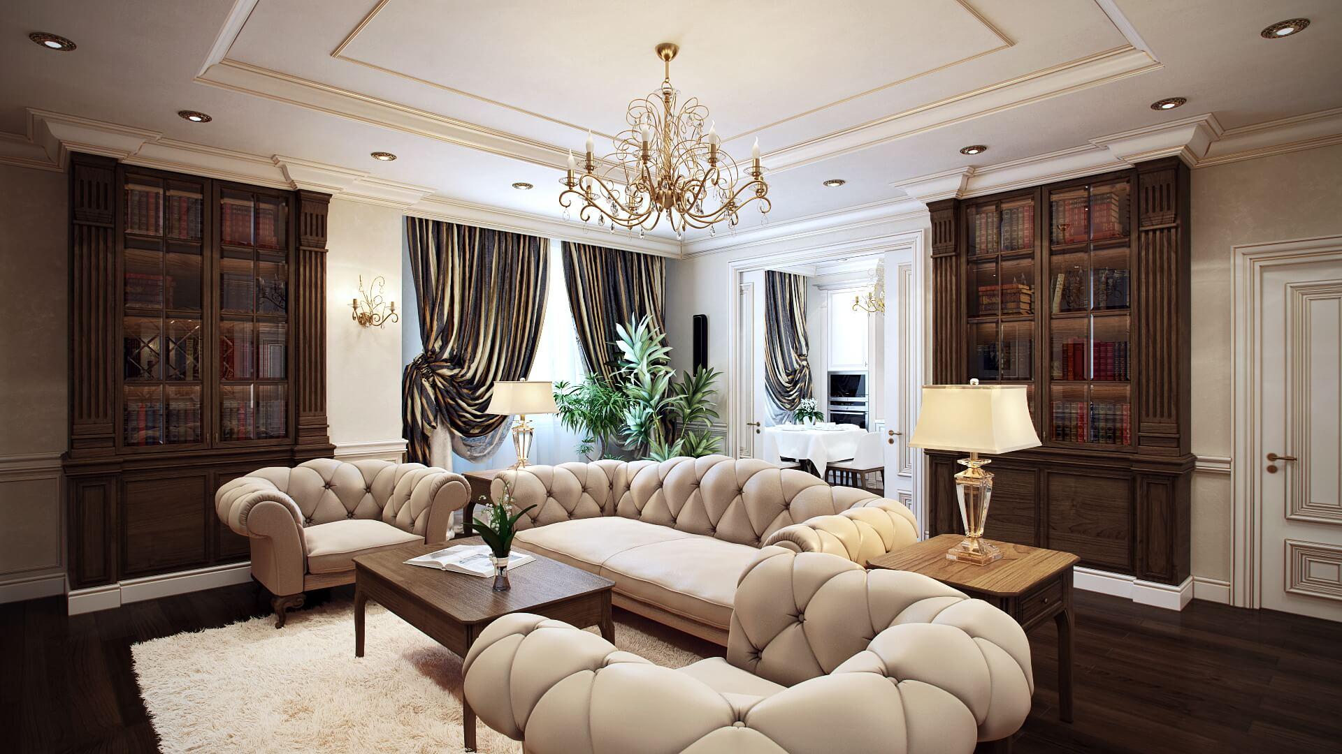 Роскошный интерьер квартиры в классическом стиле: дизайн гостиной View04