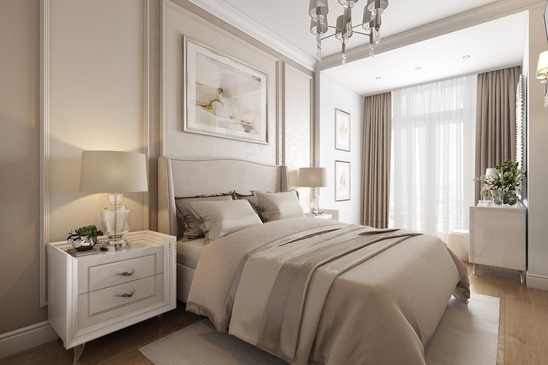 Стильный интерьер квартиры в светлых тонах: дизайн спальни View02