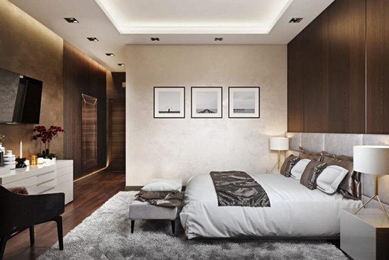 Примеры уютного дизайна интерьера спальни Вид02
