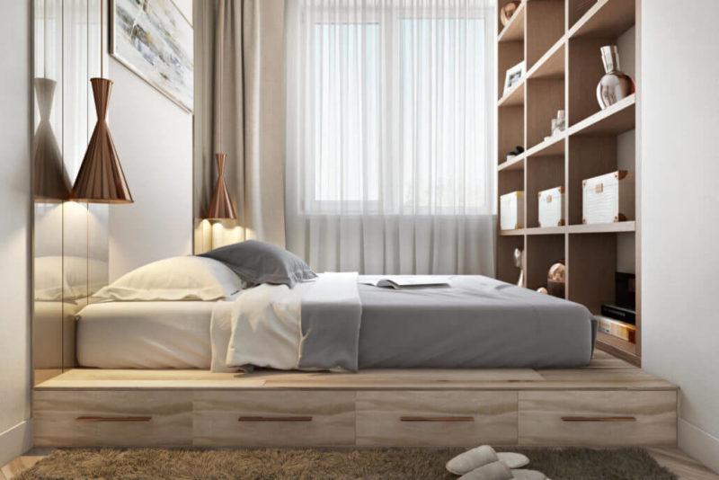 Примеры уютного дизайна интерьера спальни Вид05