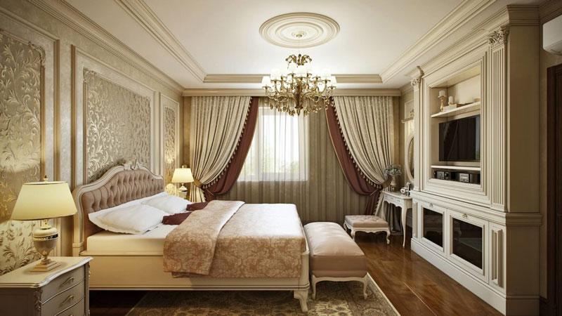 Роскошый дизайн спальни в классическом стиле
