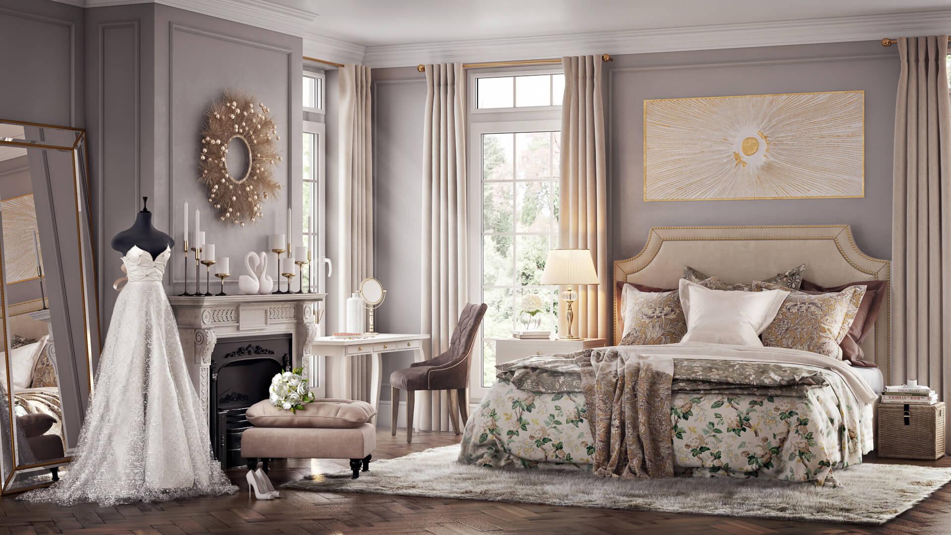Изысканный классический дизайн спальни с камином