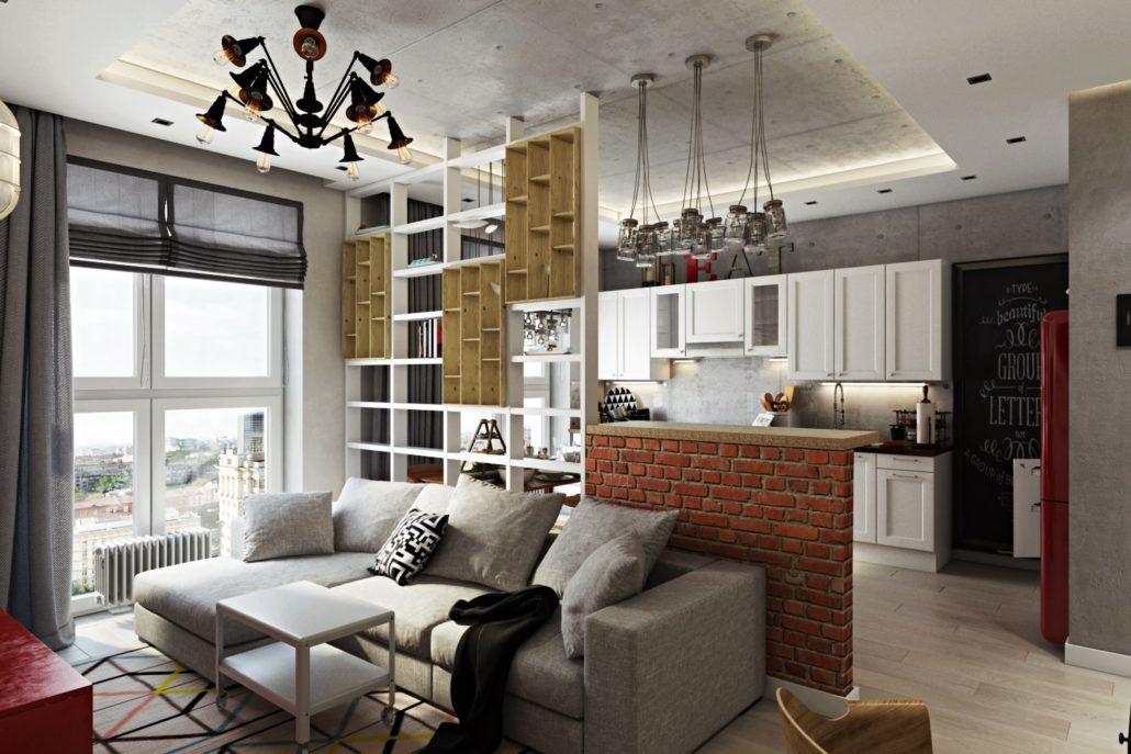 Уютная квартира-студия со стильным дизайном интерьера Вид01