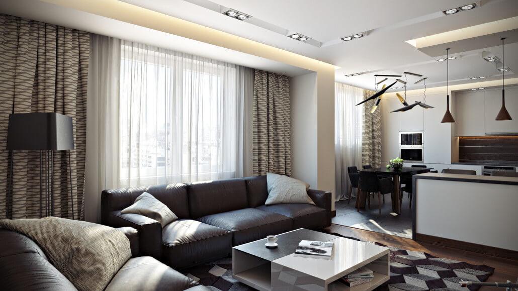 Функциональный и модный дизайн квартиры-студии с отдельной спальней 4