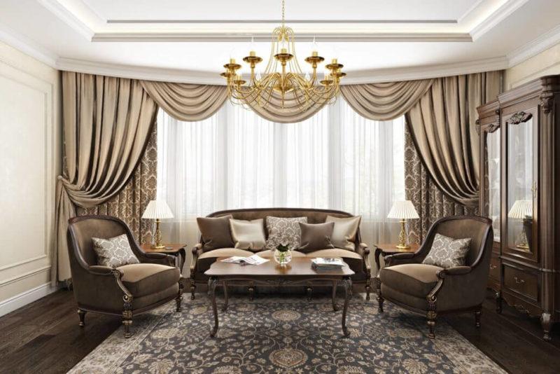 Интерьер гостиной в традиционном стиле
