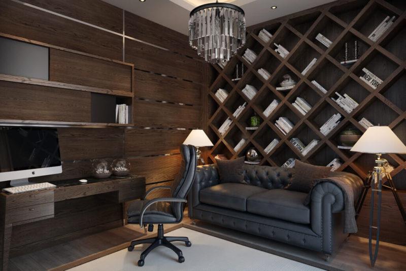 Дизайн домашнего офиса со стеной из дерева