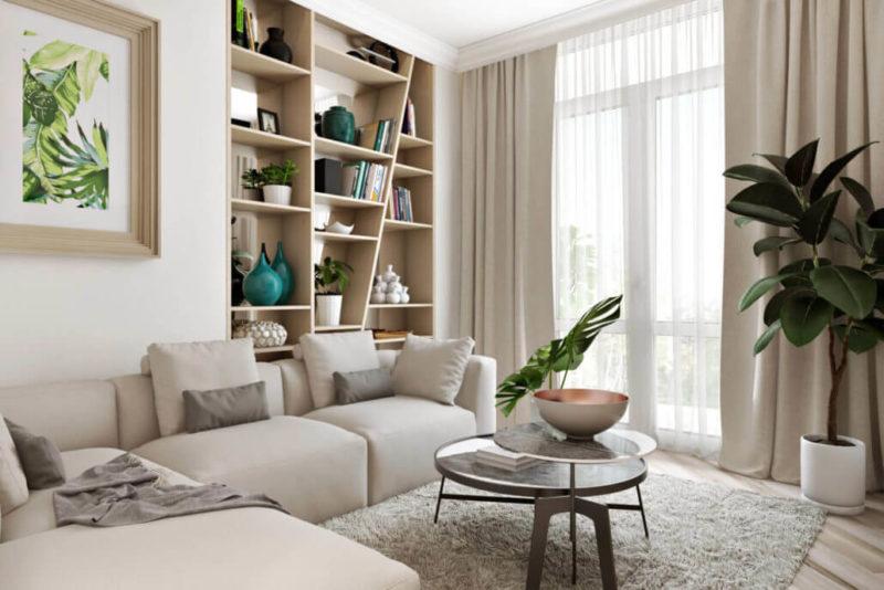 Проект интерьера гостиной в белом цвете