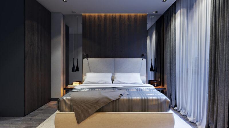 Дизайн интерьера спальни с шкафом из темного дерева