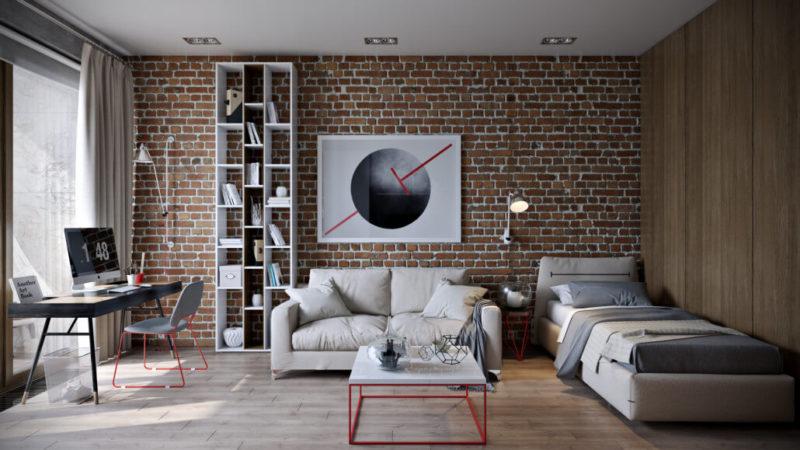 Современный дизайн интерьера гостиной в стиле лофт