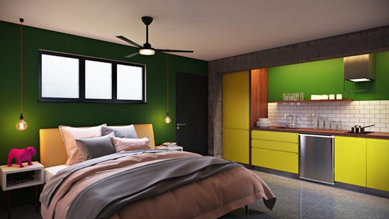 Яркий дизайн однокомнатной квартиры