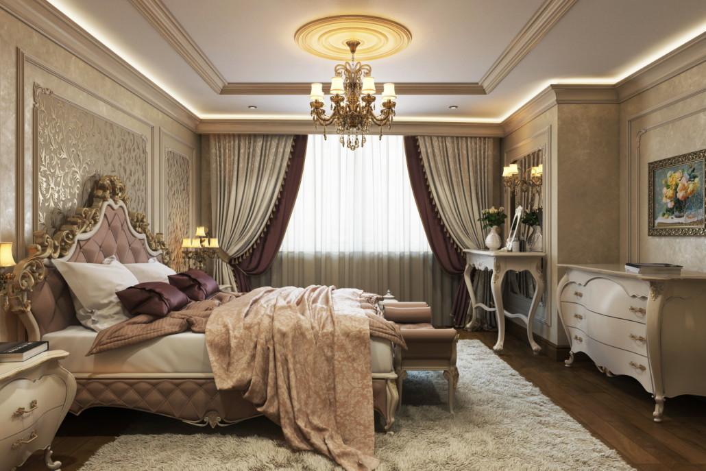 Эффектная люстра в традиционном дизайне спальни