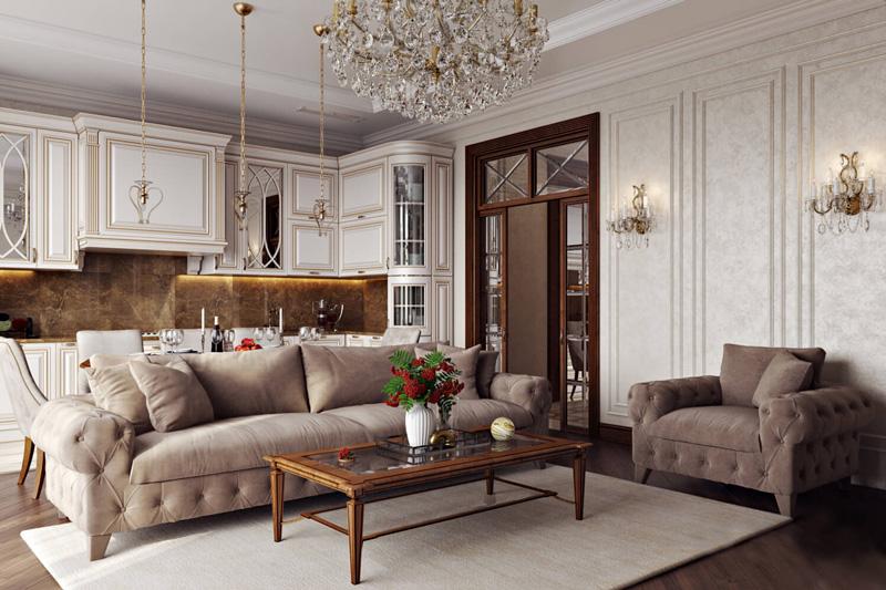 Отделка классического дизайна гостиной с плавными линиями