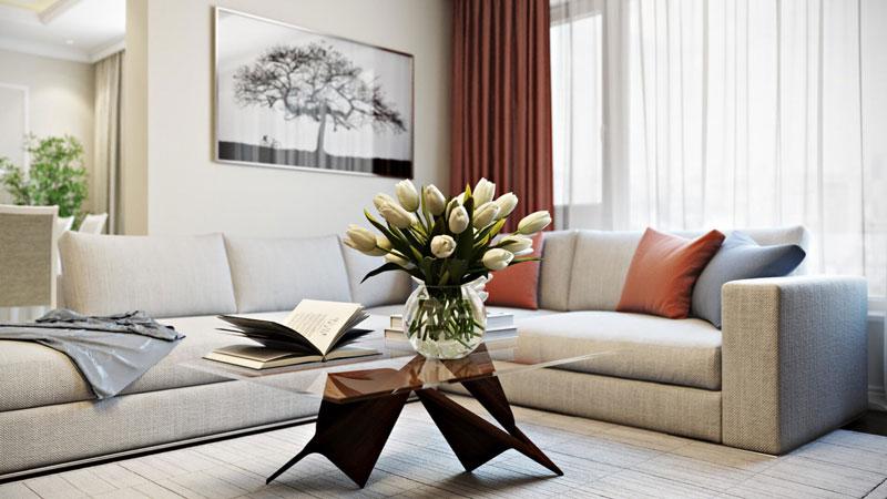 Утонченный дизайн гостиной с мягкими линиями в оформлении отделки