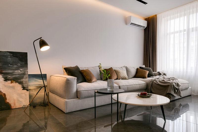 Дизайн гостиной с кафельным напольным покрытием