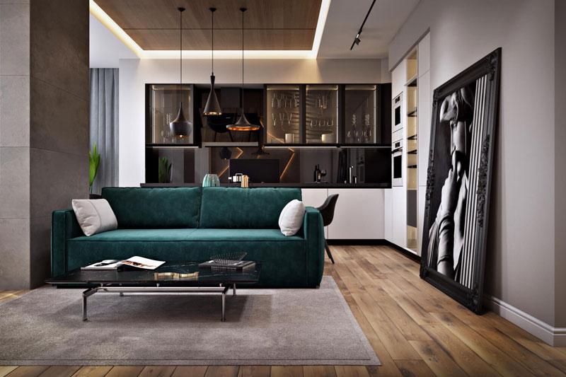 Стильная отделка потолка в дизайне гостиной