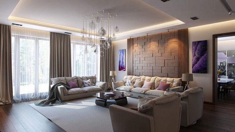 Искуственное и естественное освещение в дизайне гостиной