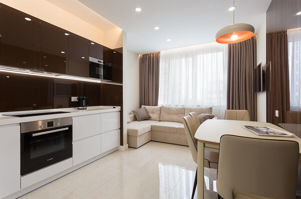 Современный дизайн квартиры в Киеве: кухня-столовая Вид01