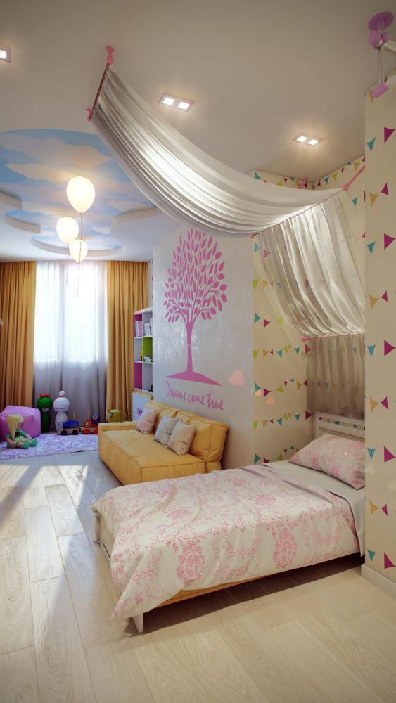 Дизайн десткой комнаты для девочки в розовом цвете