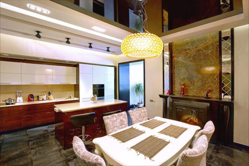 Благородное сияние мрамора в современном дизайне кухни фото