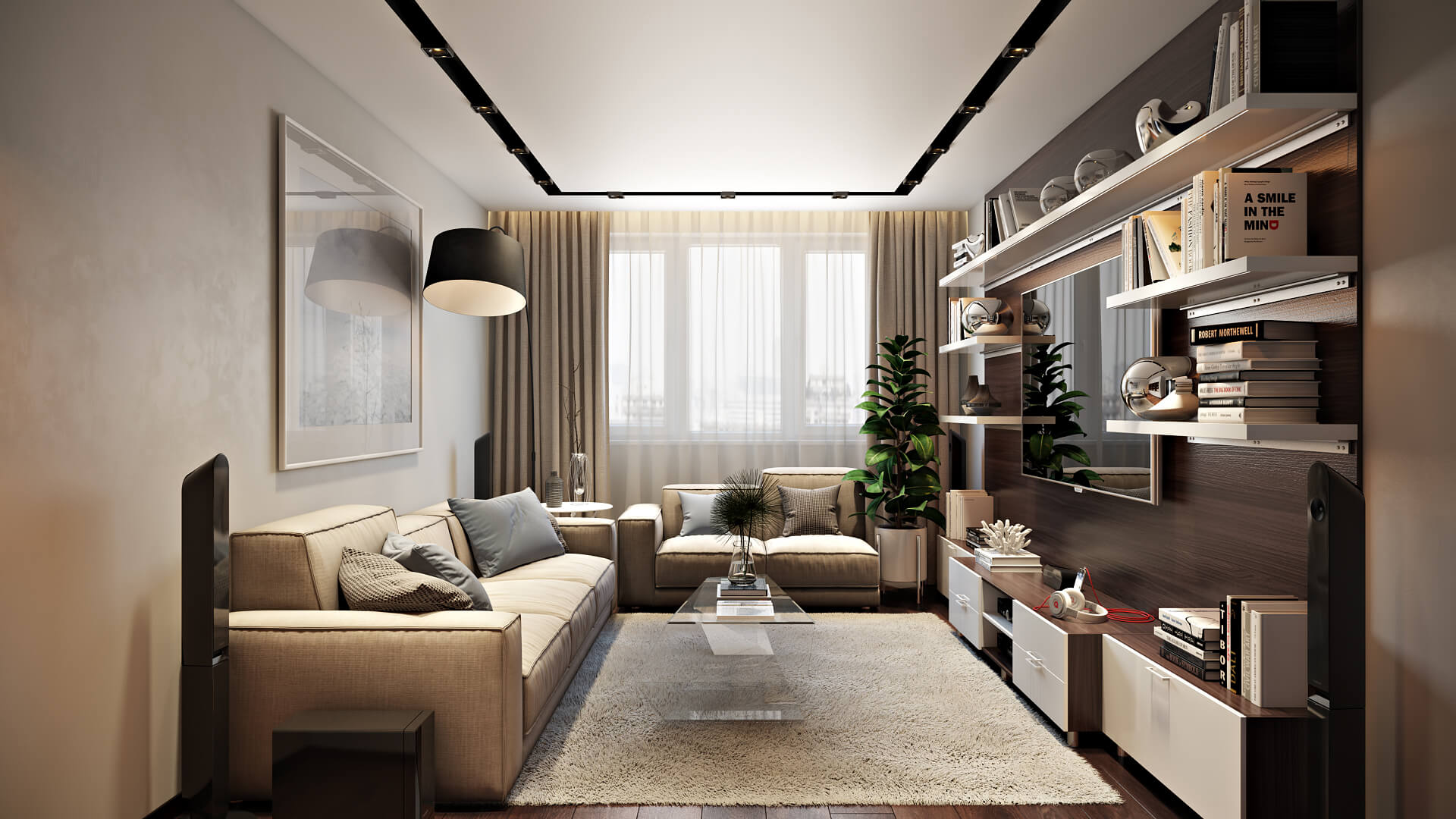Уютный и современный дизайн просторной квартиры Вид15