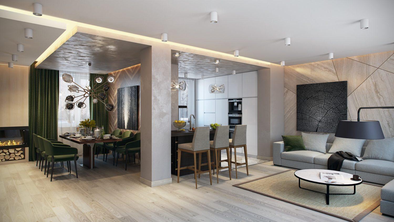 Яркий и современный дизайн студии: комфорт и простор Вид01