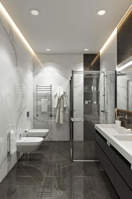 Дизайн ванной комнаты с использованием мрамора