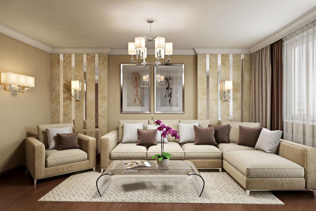 Уютный и современный интерьер квартиры: дизайн гостиной View06