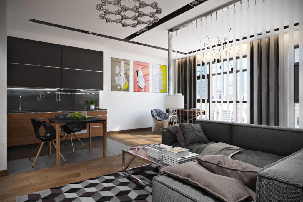 Уютный и стильный интерьер квартиры Вид01