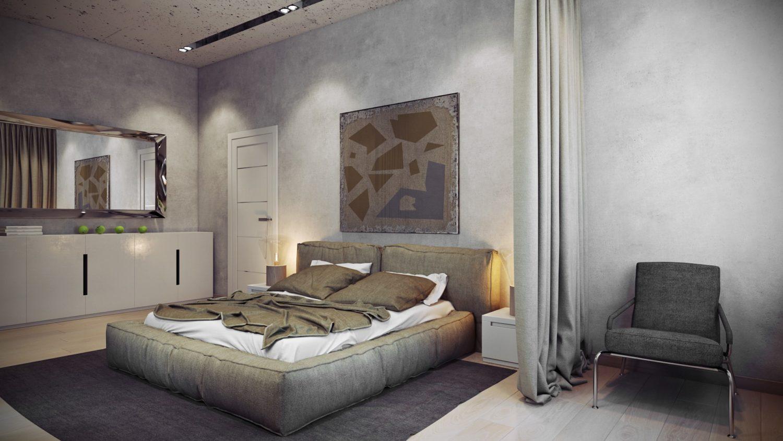 Сдержанный и стильный интерьер спальни Вид 01