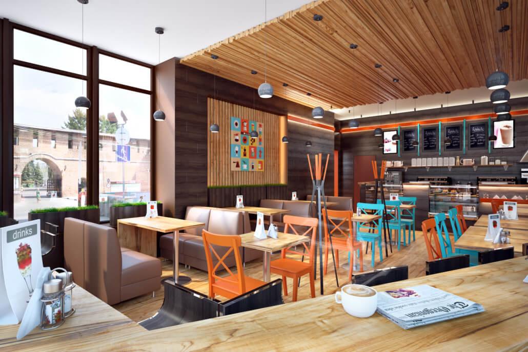 Простой и уютный дизайн кофейни - комфортный отдых посетителей Вид05