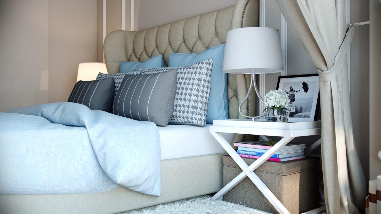 Комфортный отдых: уютный дизайн спальни в светлых тонах Вид05