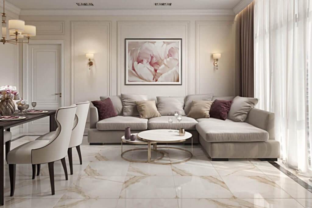 Дизайн гостиной в светлых тонах с яркими акцентами