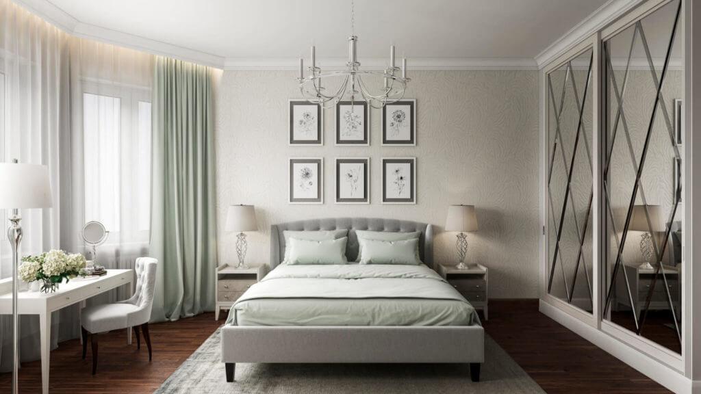 Дизайн интерьера спальни в светлых тонах с мятными акцентами