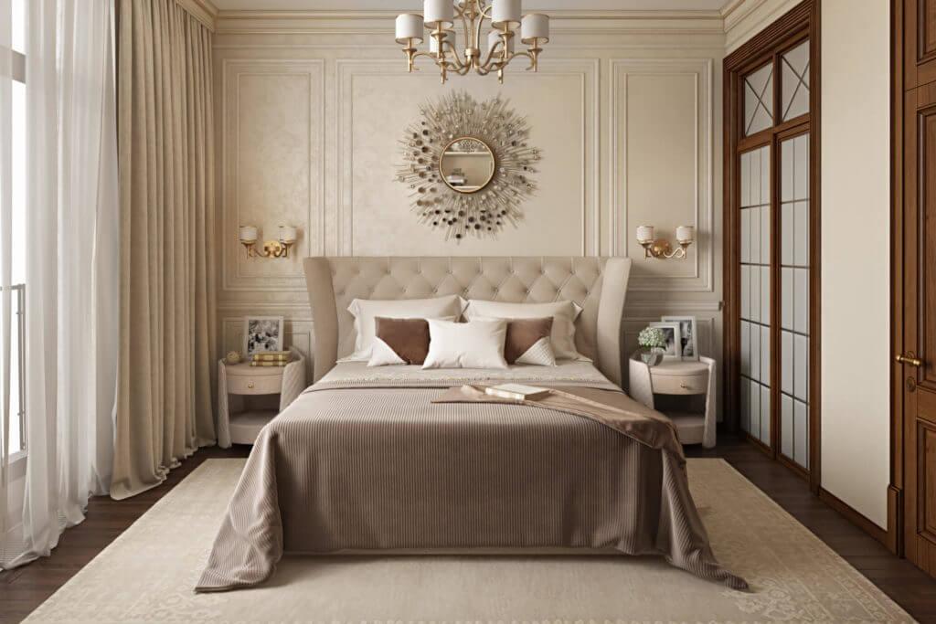 Классический дизайн спальни в светлых тонах