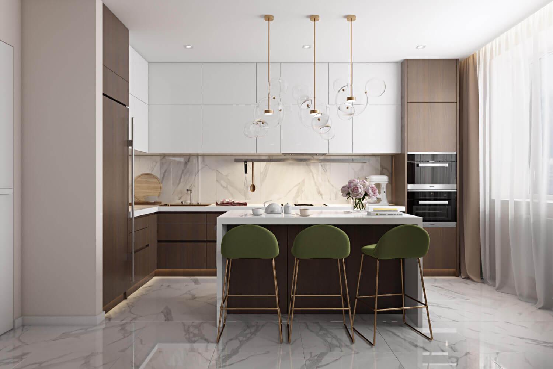 Дизайн кухни-студии в светлых тонах с теплыми акцентами