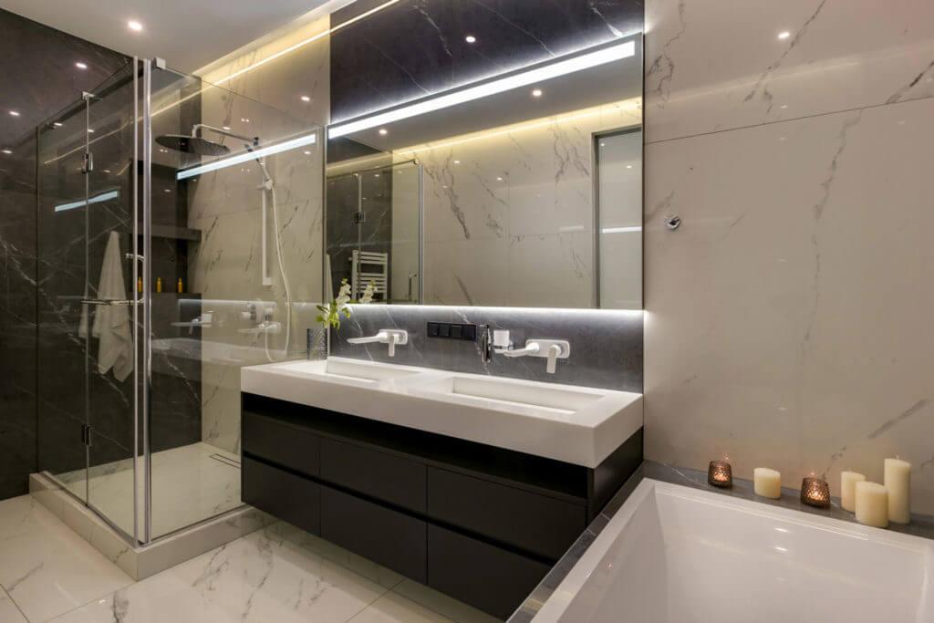 Ремонт ванной комнаты под ключ с душевой кабиной